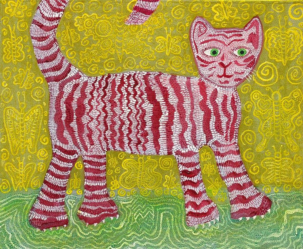 Carmine Cat and Indian Butterflies