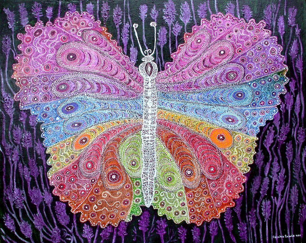 Rainbow Butterfly at Night in a Lavender Field