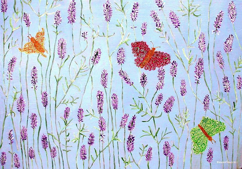 Butterflies in a Lavender Bush