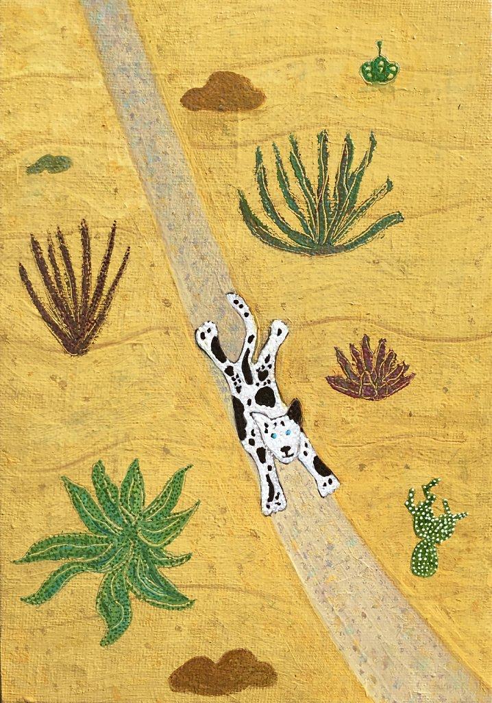 Small Dog Running through the Savannah