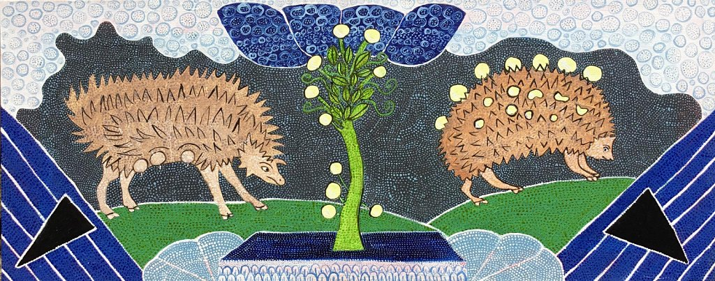 Hedgehogs Collecting Grapes